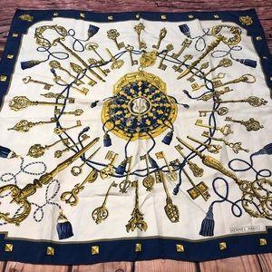 Hermès Paris Gold Keys & Blue Tassels Silk Scarf